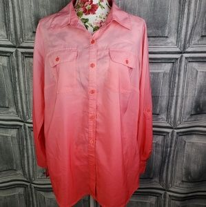 Notation Ombre Pink button up Blouse. (1x)